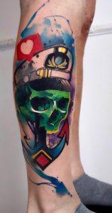 Watercolor Skull Tattoo