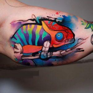 Watercolor Lizard Tattoo