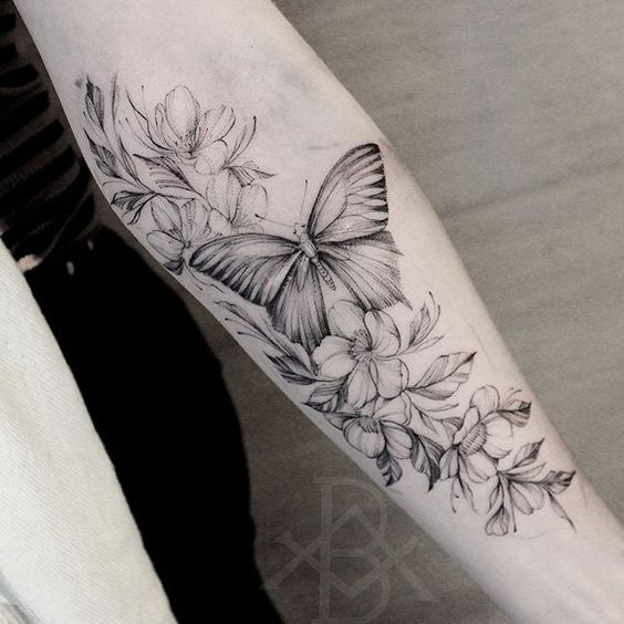 Black and Grey Butterfly Tattoo