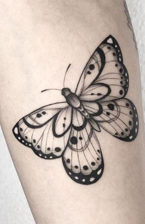 Blackwork Butterfly Tattoo
