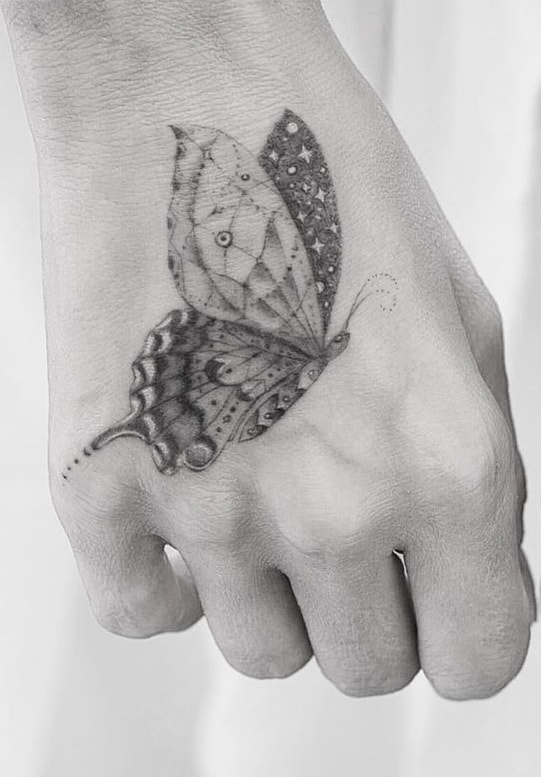 Single Needle Butterfly Tattoo