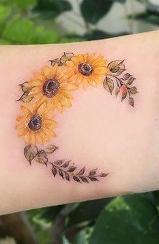 Crescent Moon and Sunflower Tattoo