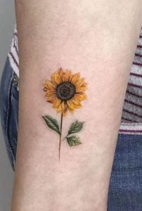 Sunflower Tattoo with Stem