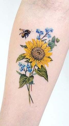 Bee and Sunflower Tattoo