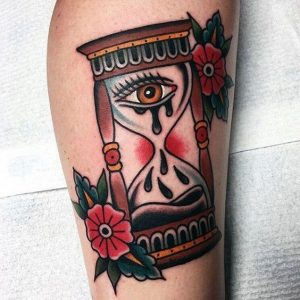 American Traditional Hourglass Tattoo