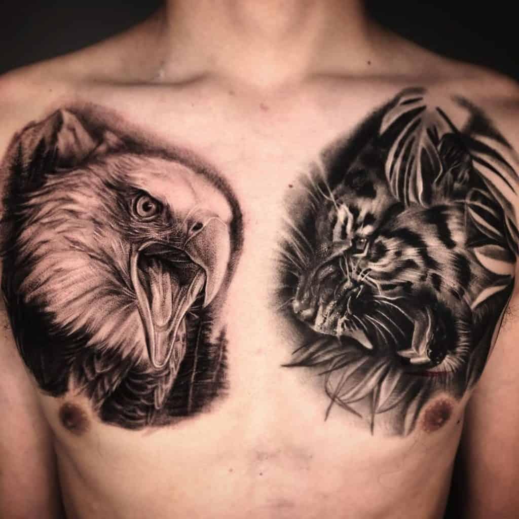 Black and Grey Eagle Tattoo