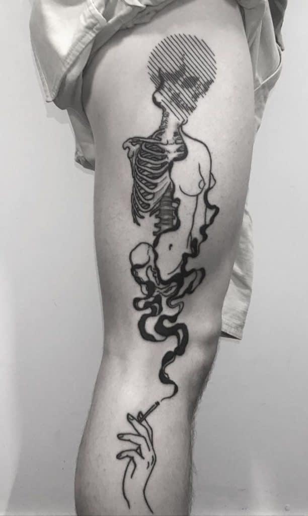 Black-work Skull Tattoo