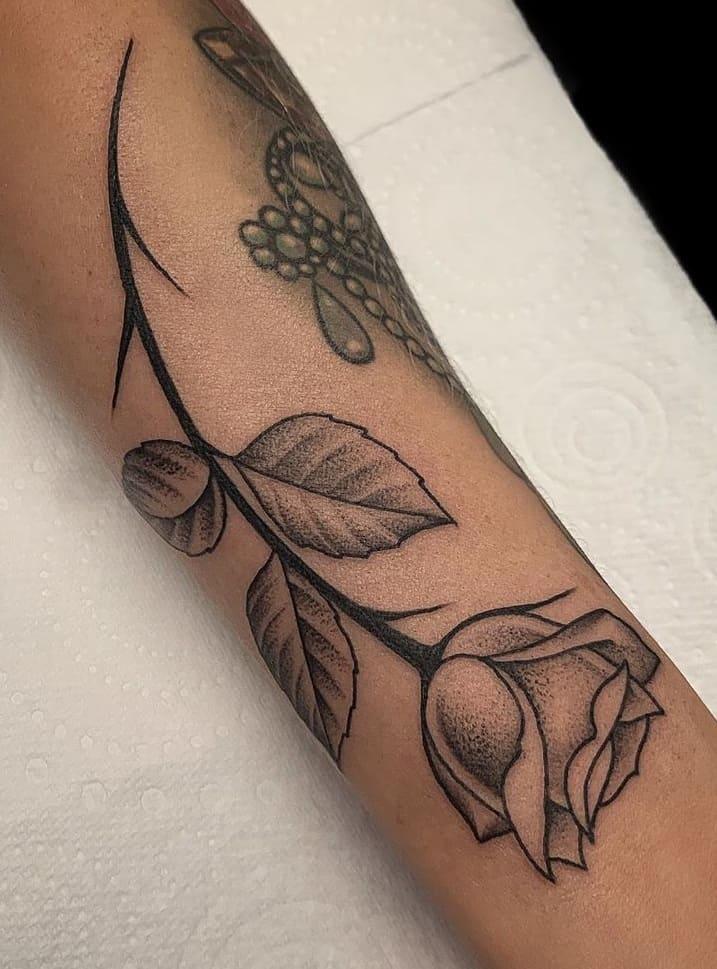 Dot-work Rose Tattoo