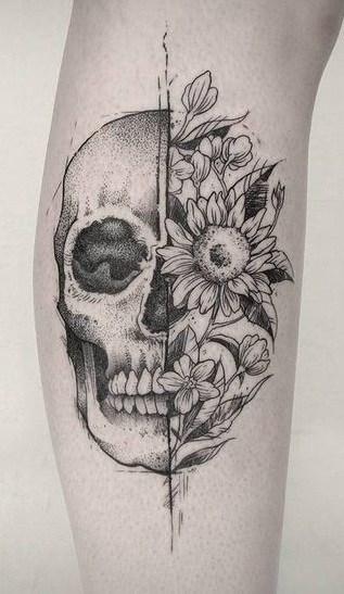 Dot-work Skull Tattoo