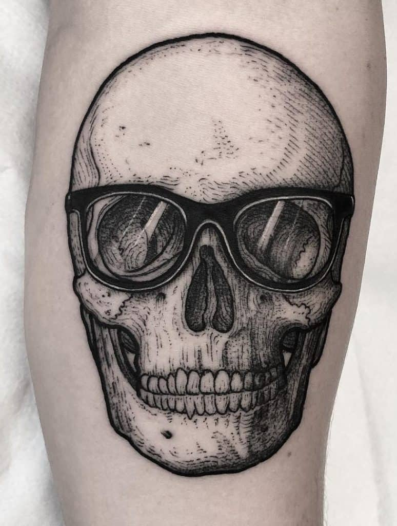 Etching Skull Tattoo