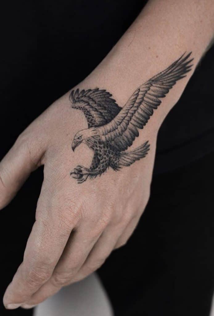 Fine Line Eagle Tattoo