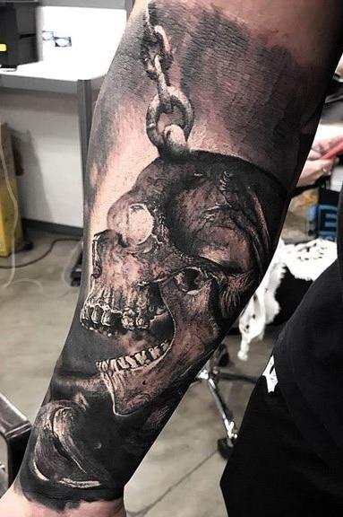Forearm Skull Tattoo