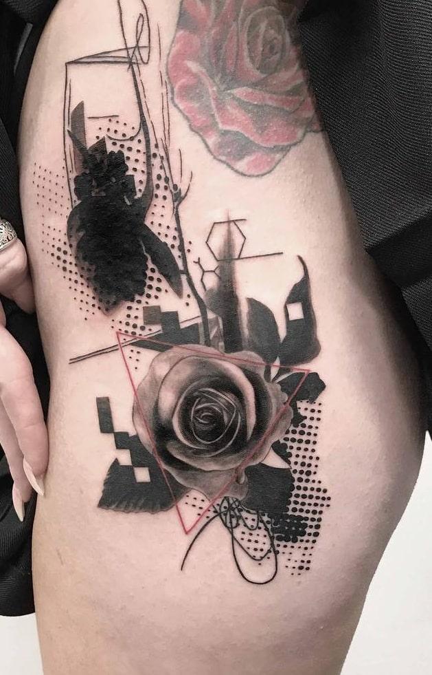 Graphic Rose Tattoo