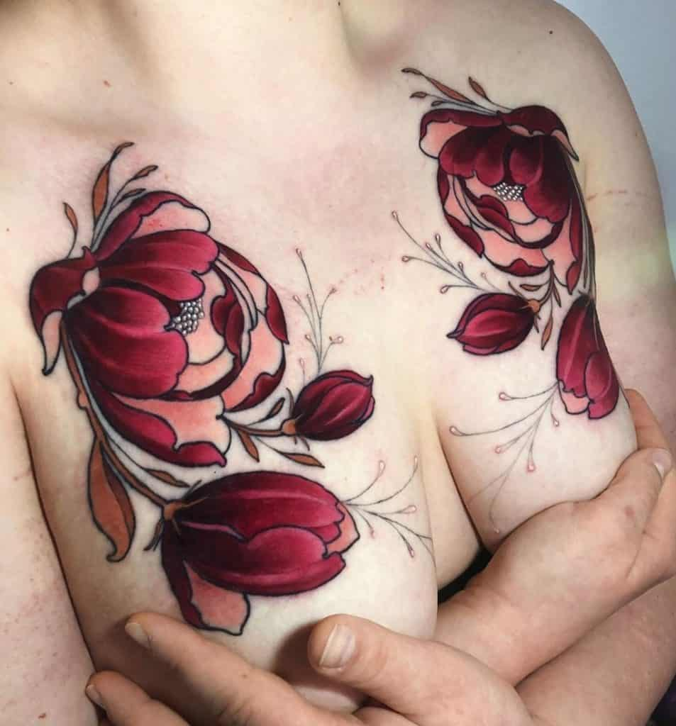 Neo-traditional Flower Tattoo