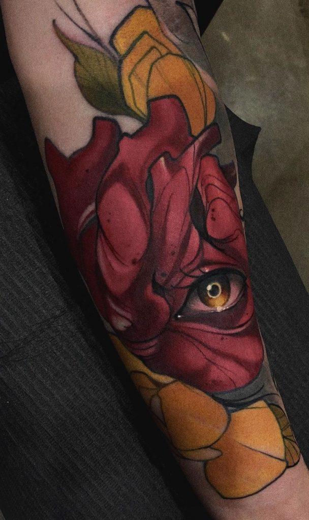 Neo-traditional Heart Tattoo
