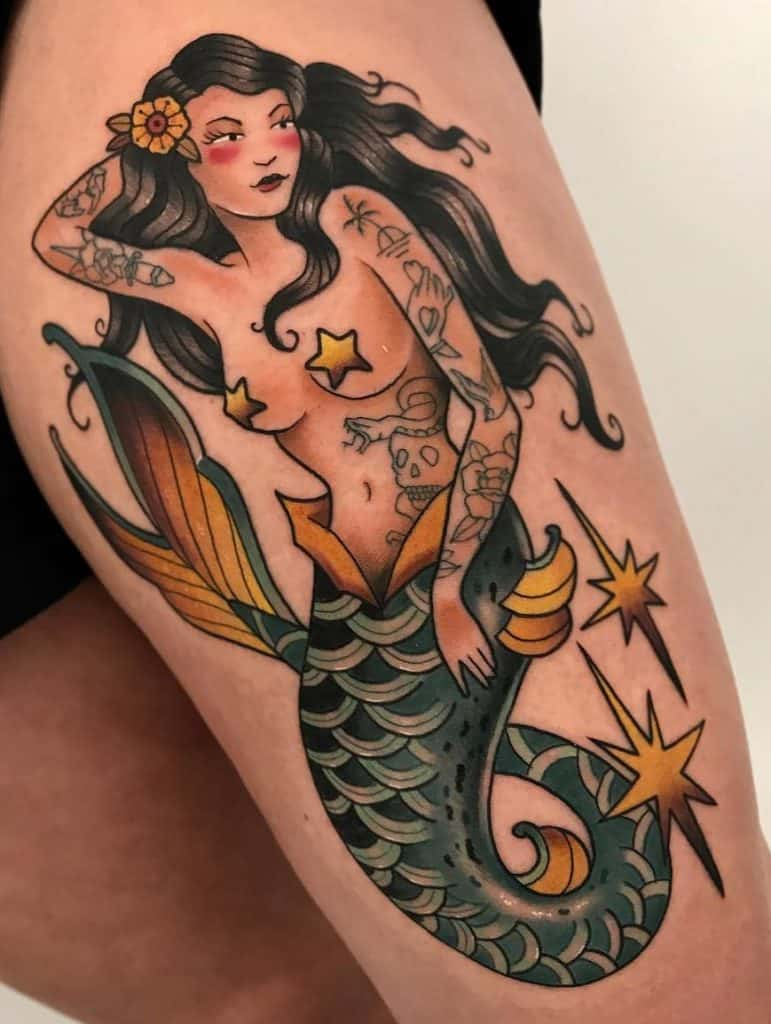 Neo-traditional Mermaid Tattoo