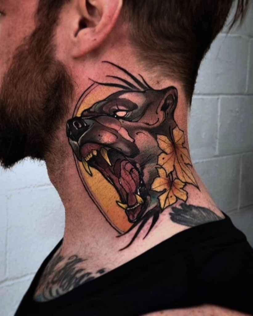Neo-traditional Neck Tattoo