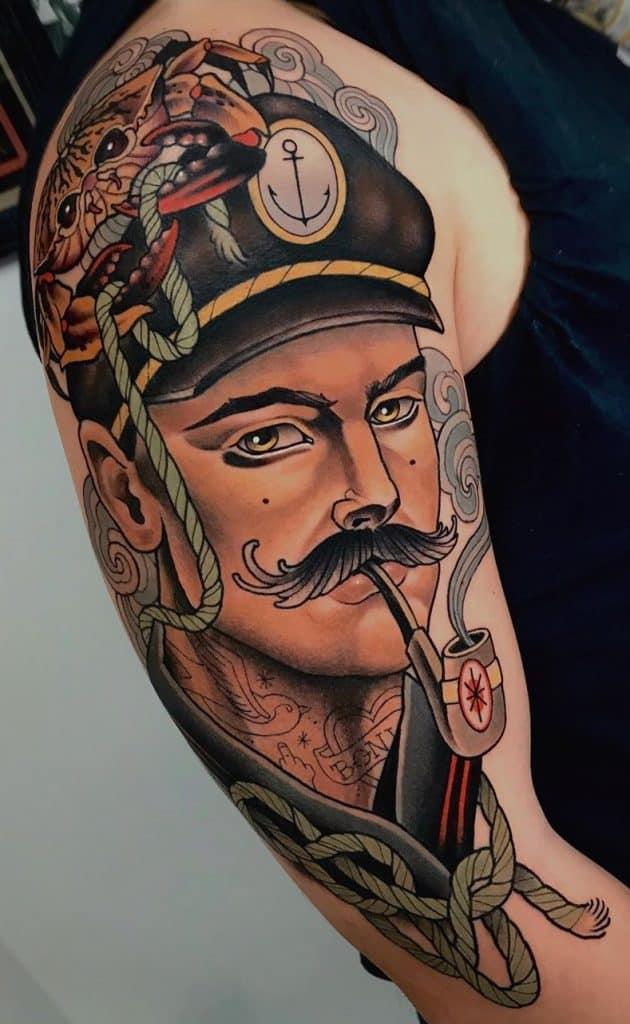 Neo-traditional Portrait Tattoo
