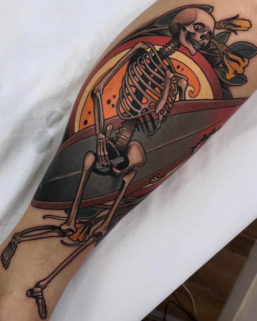 Neo-traditional Skull Tattoo