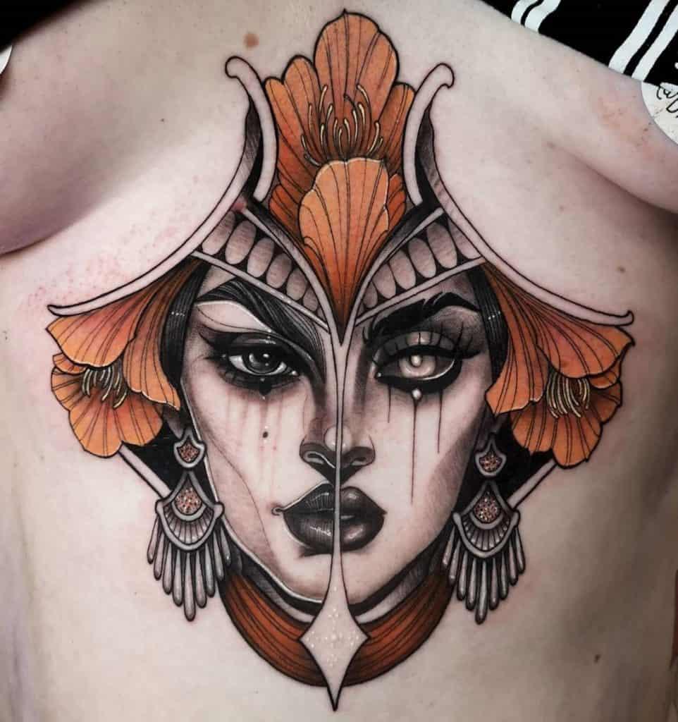 Neo-traditional Sternum Tattoo