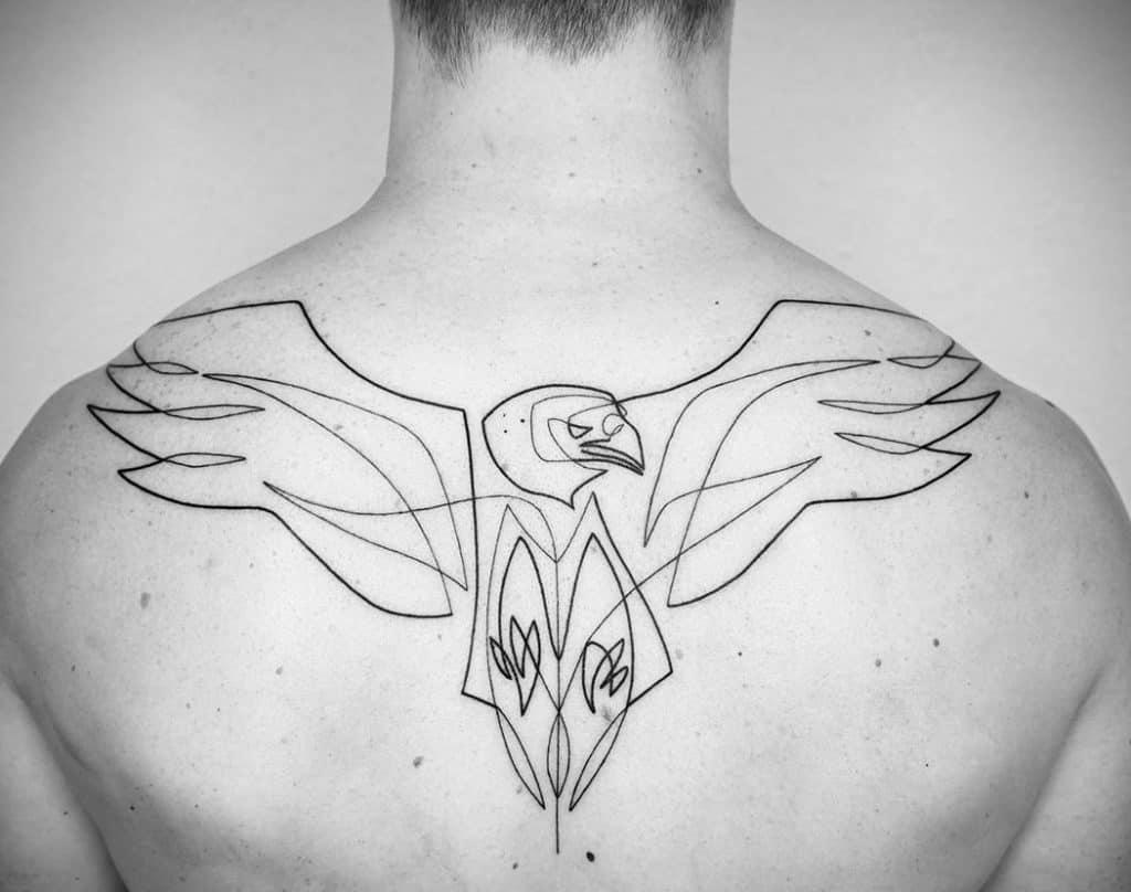 One Line Eagle Tattoo