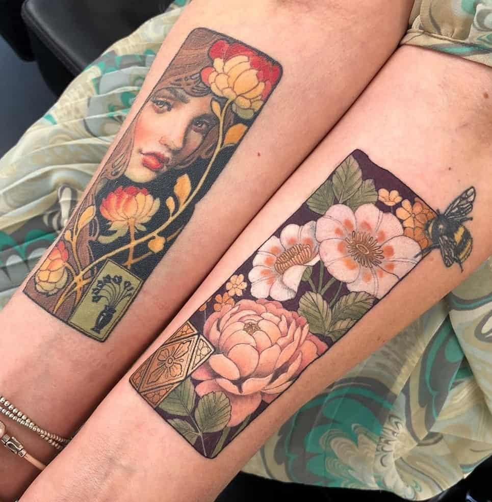Rectangular Neo-traditional Tattoo