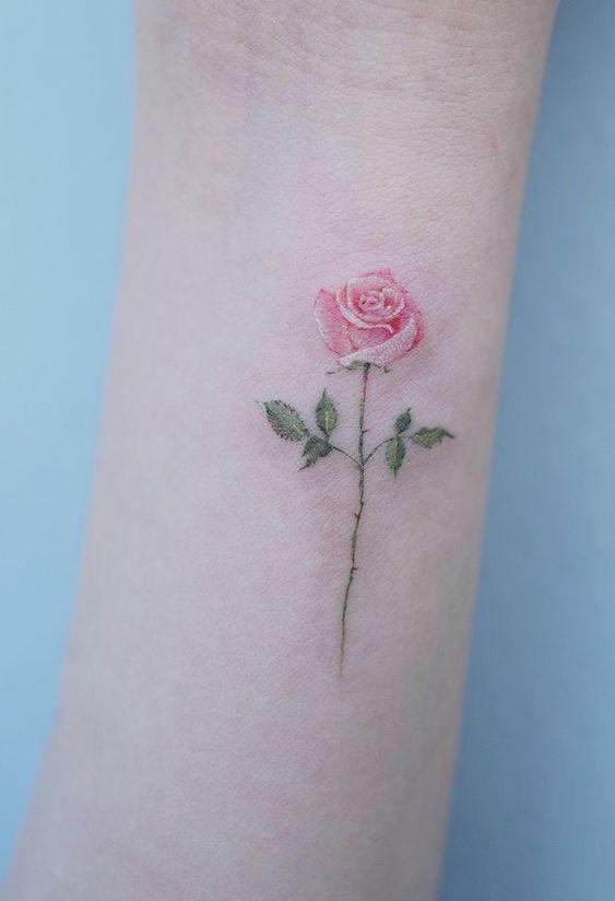 Single Needle Rose Tattoo