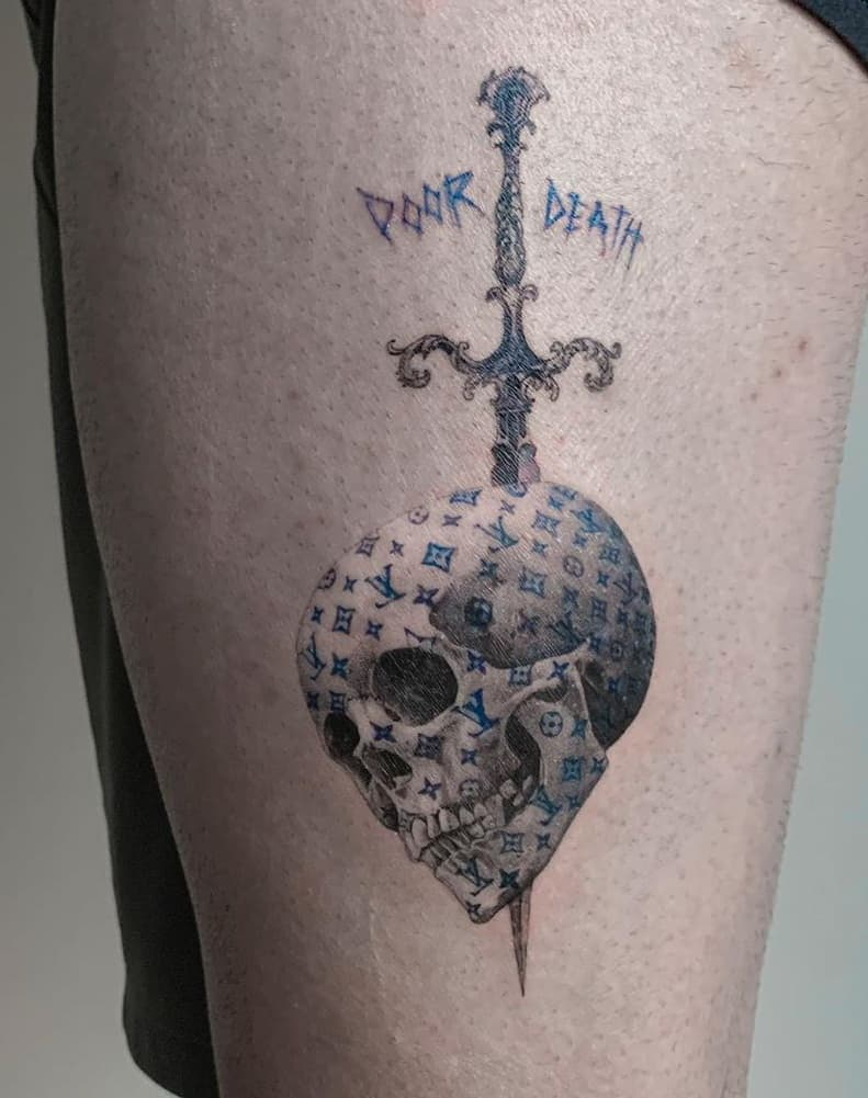 Single Needle Skull Tattoo