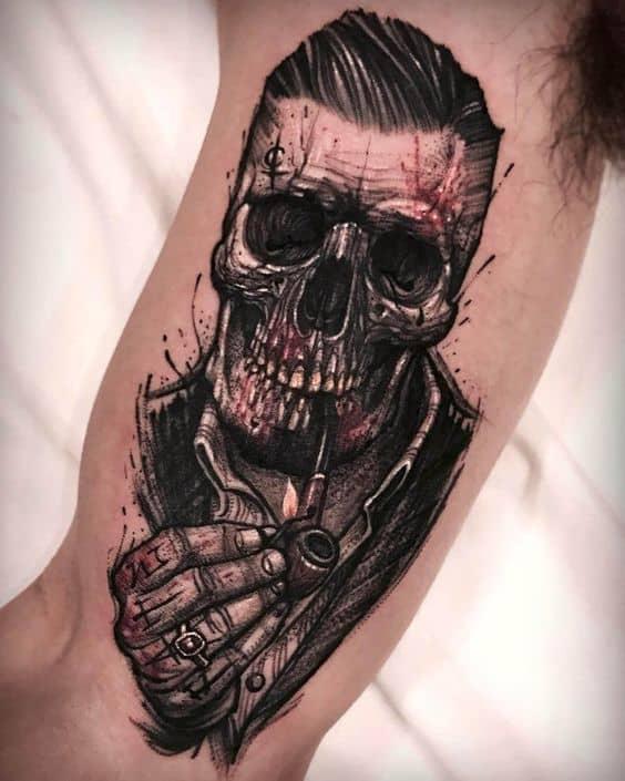 Sketchy Skull Tattoo