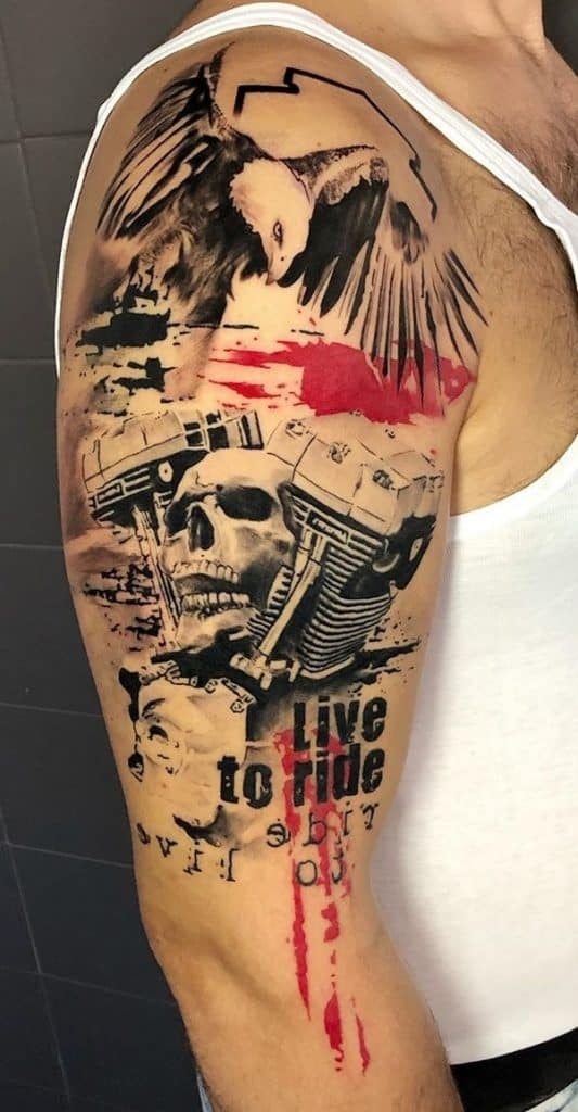 Trash Polka Eagle Tattoo