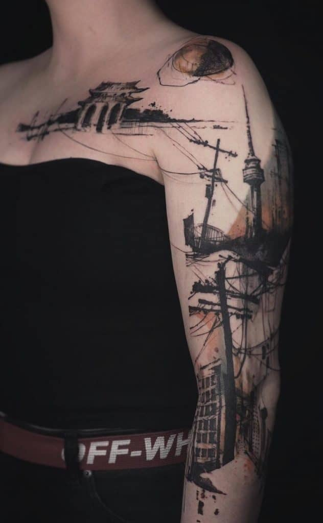 Abstract Sketch Tattoo