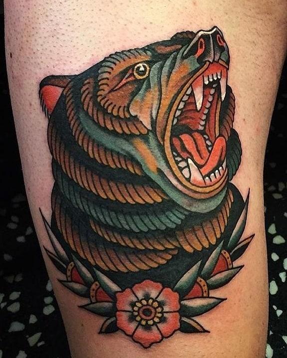 American Traditional Bear Tattoo