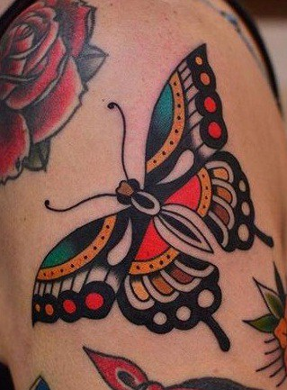 American Traditional Butterfly Tattoo