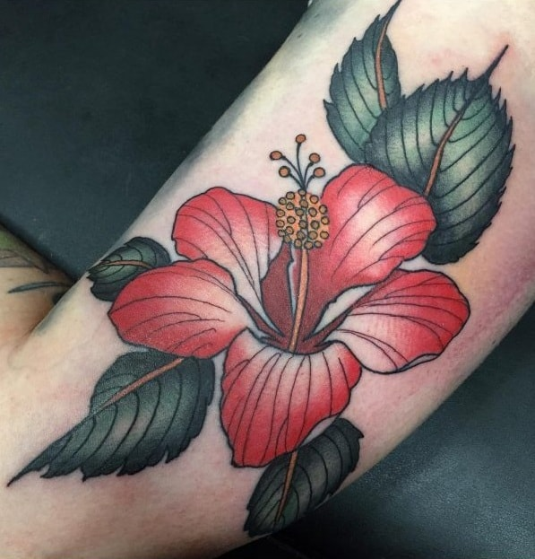 American Traditional Hibiscus Tattoo