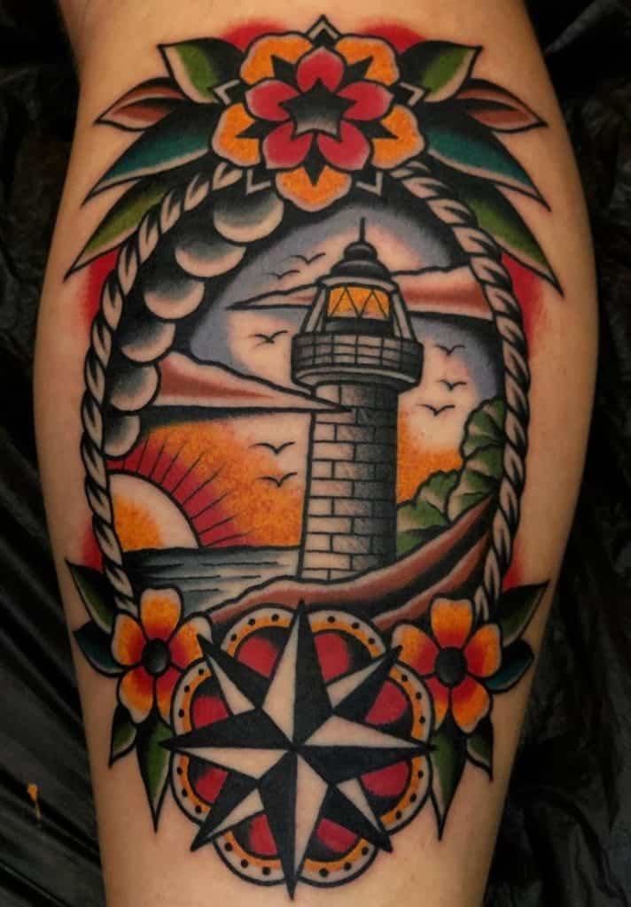 American Traditional Lighthouse Tattoo