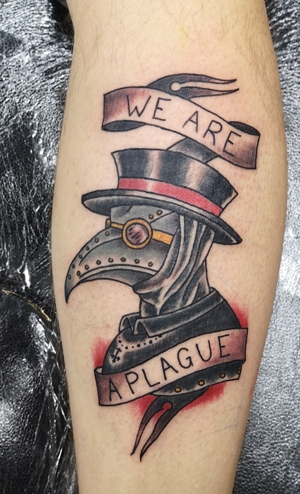 American Traditional Plague Doctor Tattoo