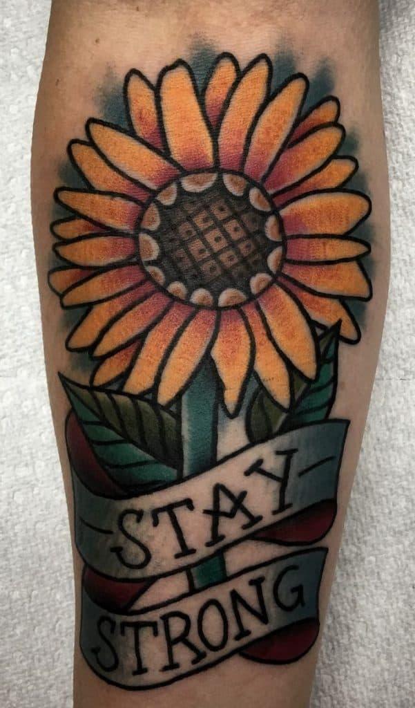American Traditional Sunflower Tattoo