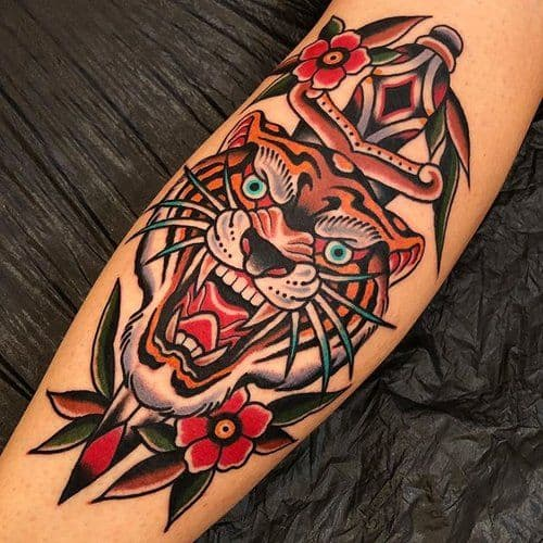 American Traditional Tiger Tattoo