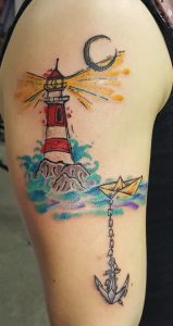 Anchor and Lighthouse Tattoo