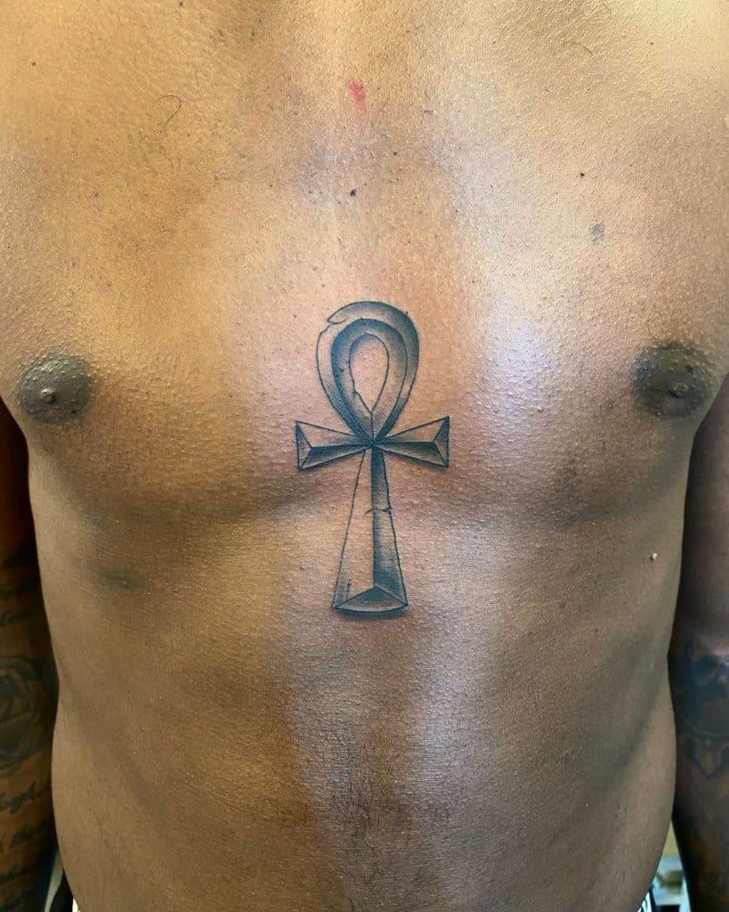 Ankh Tattoo on Dark Skin