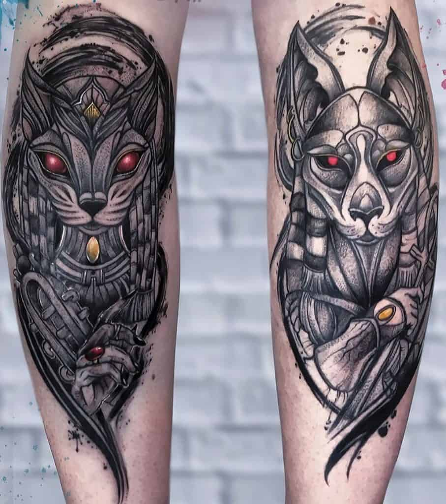 Anubis and Bastet Tattoo