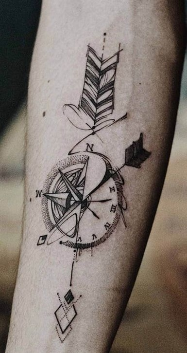Arrow and Compass Tattoo