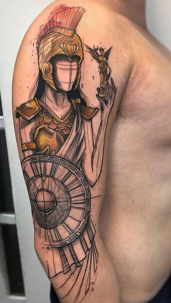 Athena Sketch Tattoo
