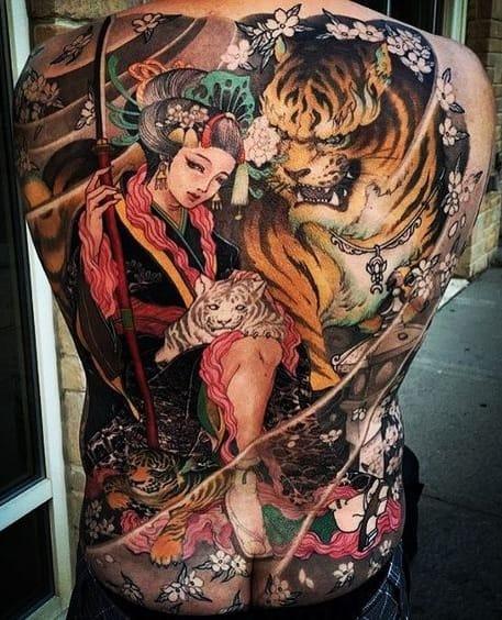 Back-piece Geisha Tattoo
