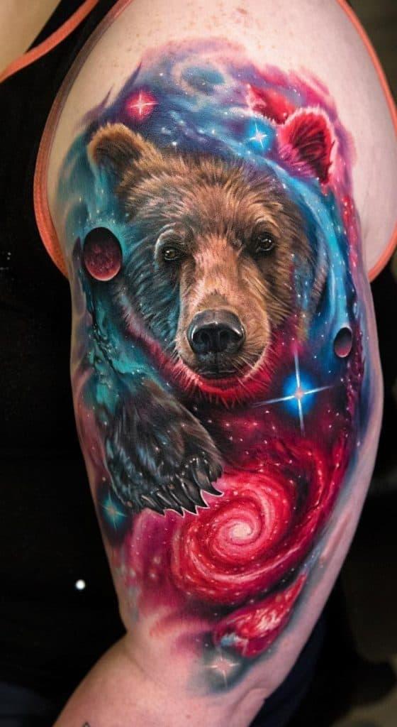 Bear Tattoo On The Upper Arm