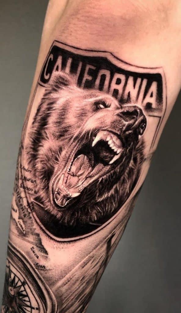 Bear Tattoo on Forearm