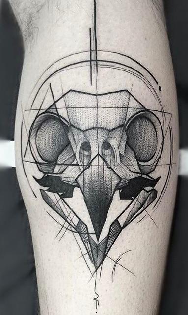 Bird Skull Sketch Tattoo