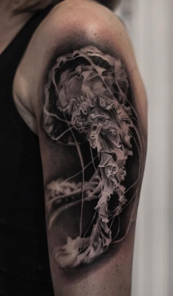 Black And Grey Jellyfish Tattoo