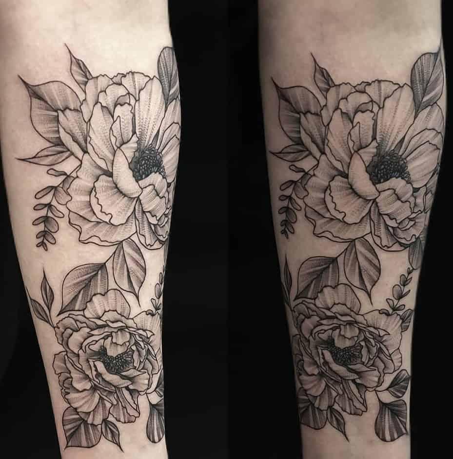 Black And Grey Peony Tattoo