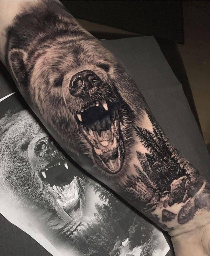 Black & Grey Bear Tattoo